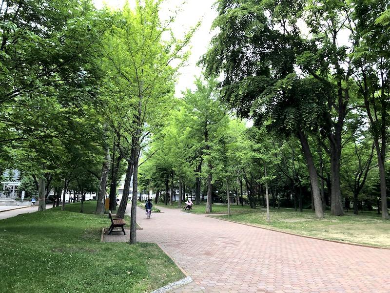 永山記念公園で自転車を走らせる娘