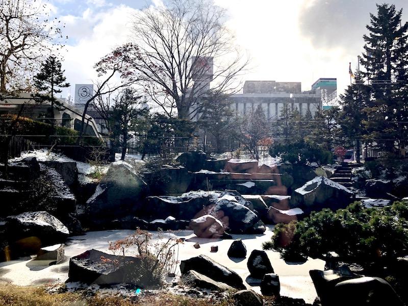 食堂内から見る晴れた時間の札幌市役所庭園
