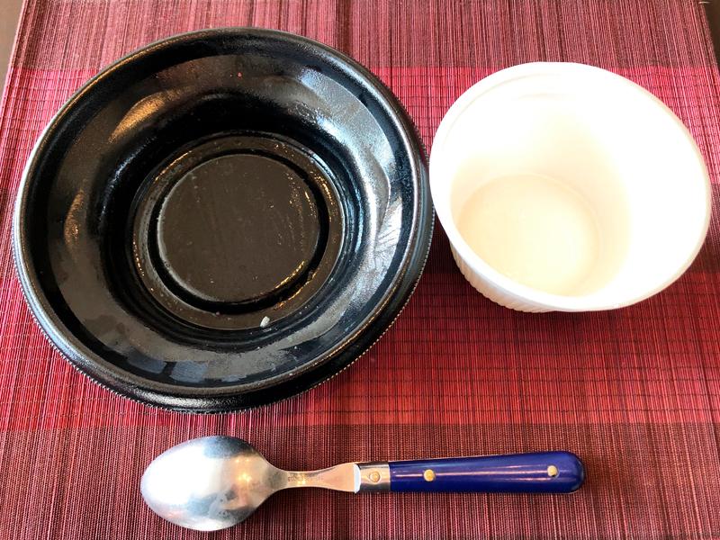 炒飯総本家の焼豚チャーハンとわかめスープを完食
